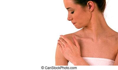 Beautiful brunette rubbing cream o - Beautiful brunette...