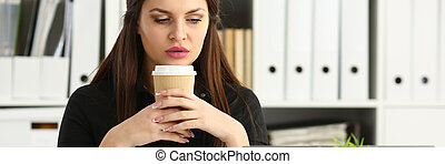 Beautiful brunette smiling clerk woman work