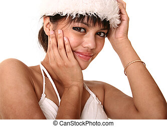 Beautiful Brunette Wearing Christmas Hat Close Up 2