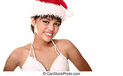 Beautiful Brunette Wearing Christmas Hat Close Up