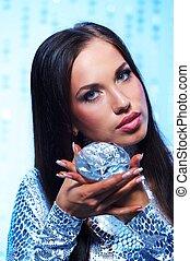 Beautiful brunette with diamond