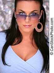 beautiful brunette with glasses