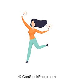 Beautiful brunette woman dancing with sparkler, girl celebrating holiday vector Illustration on a white background