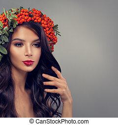 Beautiful brunette woman fashion model, portrait