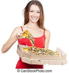 beautiful brunette woman holding piece of pizza