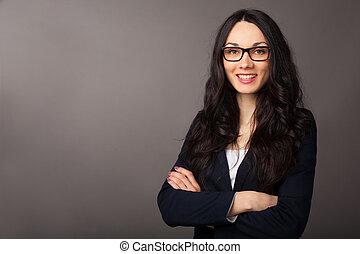 beautiful brunette woman near copyspace