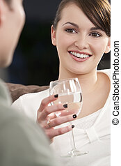 Beautiful Brunette Woman On A Romantic Date
