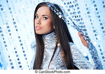 Beautiful brunette woman over abstract background