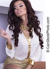 Beautiful brunette woman posing.