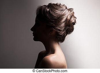 Beautiful Brunette Woman. Retro Fashion Image.