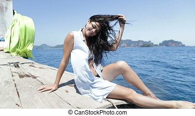 Beautiful Brunette Woman Sitting On Thailand Boat Nose Happy...