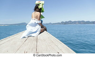 Beautiful Brunette Woman Sitting On Thailand Boat Nose, Back...