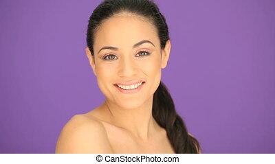 Beautiful brunette woman smiling