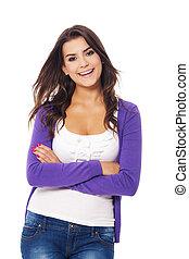 Beautiful brunette woman smiling to camera