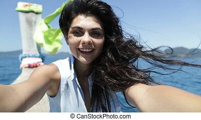 Beautiful Brunette Woman Take Selfie Photo Sitting On...