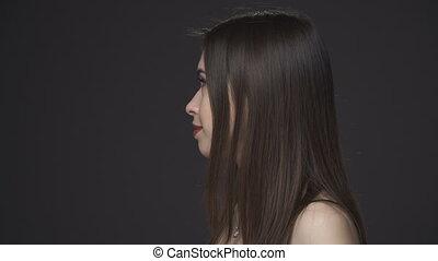 beautiful brunette womans face - Young beautiful brunette...