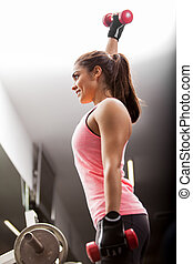 Beautiful brunette working out