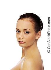 Beautiful brunette young fresh woman