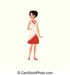 Beautiful brunette young woman in elegant dress vector Illustration on a white background