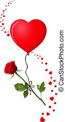 Beautiful bud of red rose on long stem and heart balloon -...