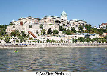 Beautiful Buda Castle Royal Palace and the Danube. Hungary...