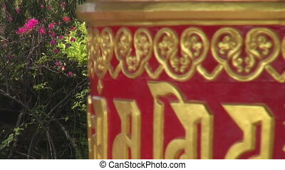 beautiful buddhist prayer wheel
