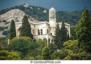 beautiful building in Crimea in Simeiz on the background of mountains