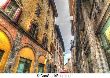 beautiful buildings in Pisa in hdr