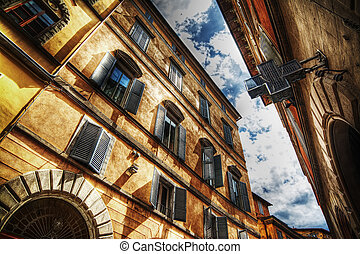 beautiful buildings in Siena in hdr