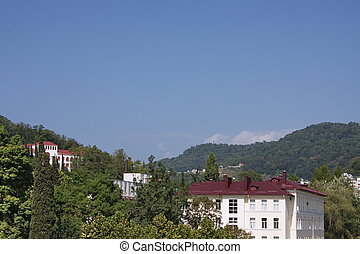 beautiful buildings in the city of Sochi