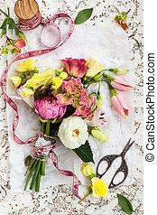 bunch of flowers - Beautiful bunch of flowers . Overhead ...
