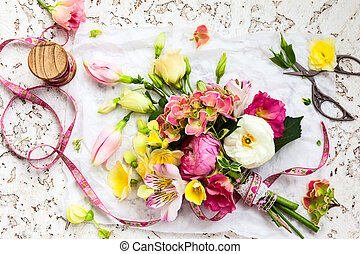 Beautiful bunch of flowers . Overhead view