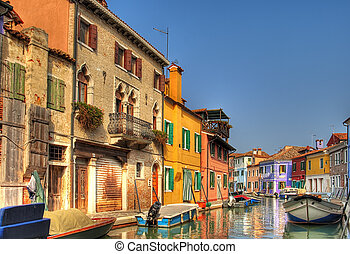 Beautiful Burano, Italy. - Colorful town on the beautiful ...