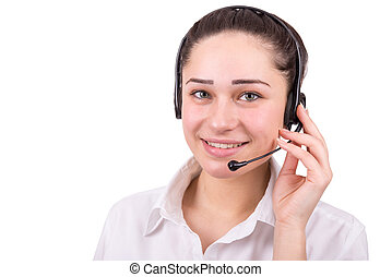 beautiful business girl in call center