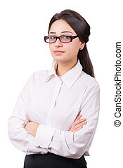 business girl in glasses with crossed hands