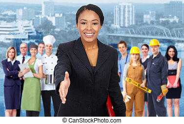 Business woman and Group of industrial workers. - Beautiful...