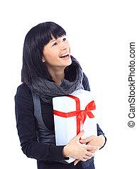 Beautiful business woman holding a