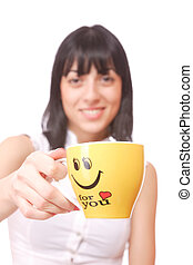 Beautiful  business woman holding coffee cup.