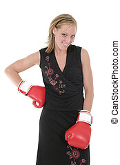 Beautiful Business Woman In Boxing Gloves 10