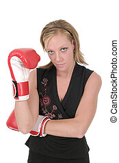 Beautiful Business Woman In Boxing Gloves 2
