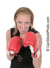 Beautiful Business Woman In Boxing Gloves 5b
