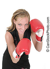 Beautiful Business Woman In Boxing Gloves 6