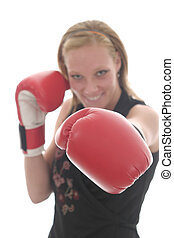 Beautiful Business Woman In Boxing Gloves 6c