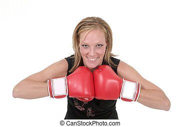 Beautiful Business Woman In Boxing Gloves 7