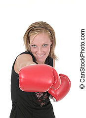 Beautiful Business Woman In Boxing Gloves 8