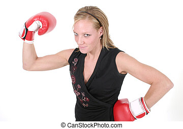 Beautiful Business Woman In Boxing Gloves