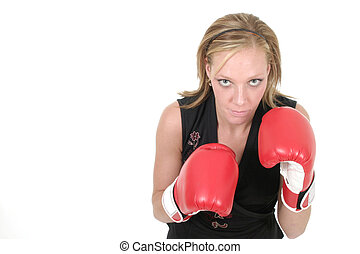 Beautiful Business Woman In Boxing Gloves 8b