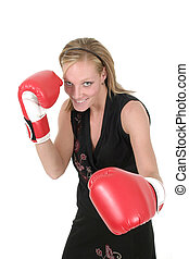 Beautiful Business Woman In Boxing Gloves 1
