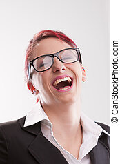 beautiful business woman laughing