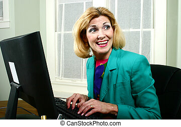 Beautiful Business Woman Laughing With Co-Workers